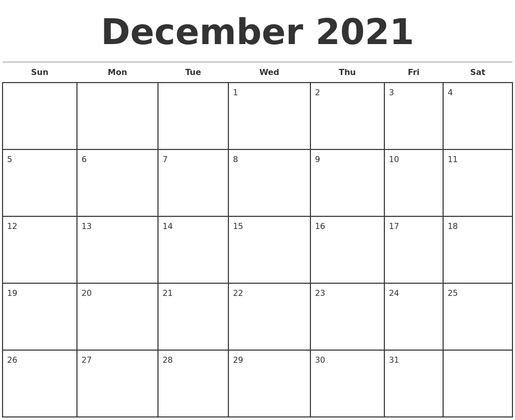 December 2021 Monthly Calendar Template