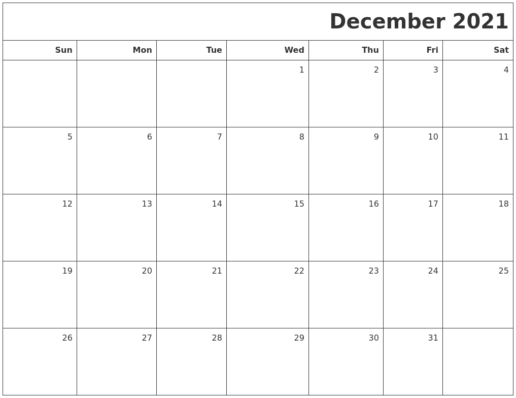 December 2021 Printable Blank Calendar