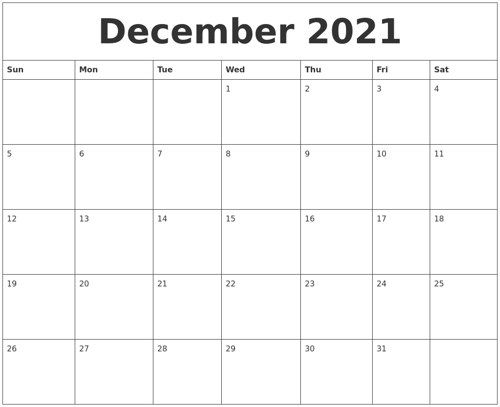 Printable December Calendar For 2021 December 2021 Printable December Calendar