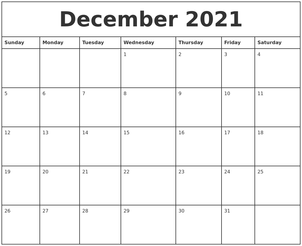 December 2021 Printable Monthly Calendar