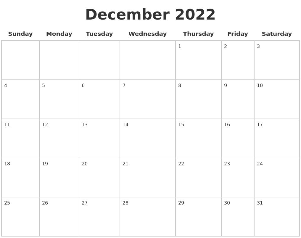 December 2022 Blank Calendar Pages
