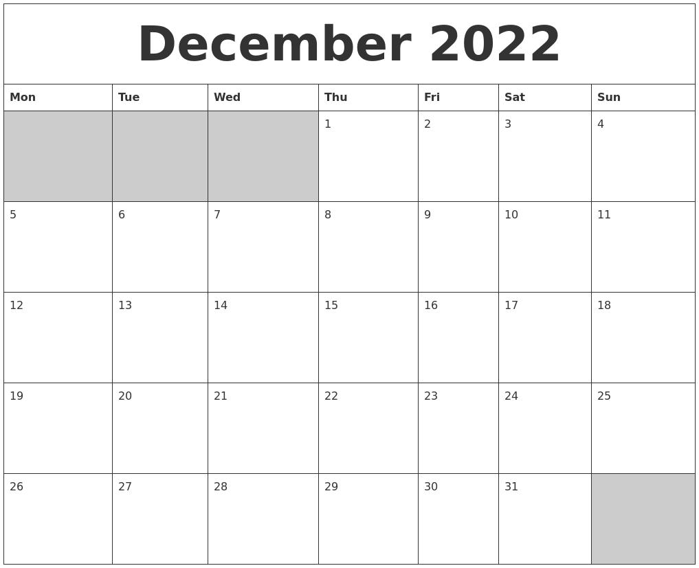 Printable Calendar December 2022.December 2022 Blank Printable Calendar