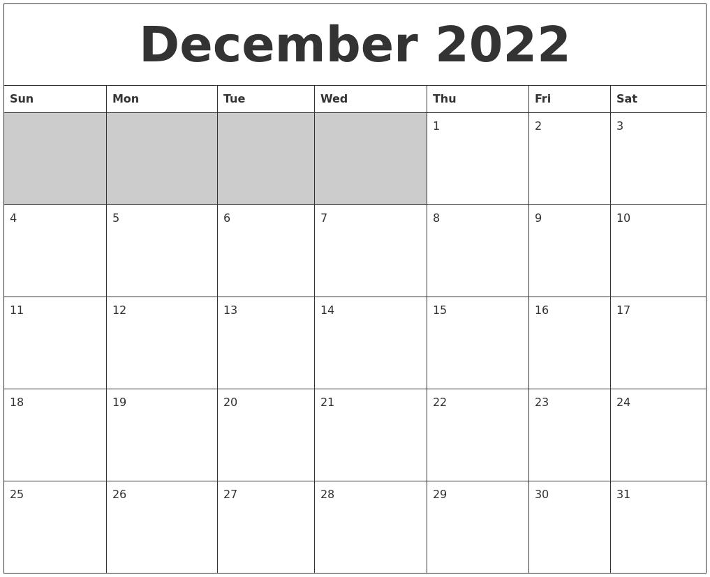 Blank Calendar December 2022.December 2022 Blank Printable Calendar