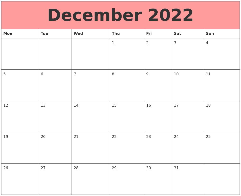 Calendar For December 2022.December 2022 Calendars That Work