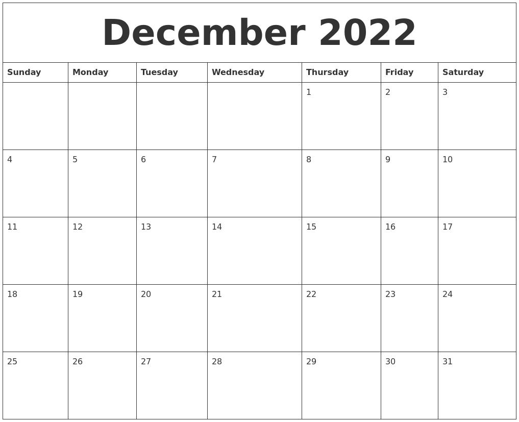 Printable December Calendar 2022.December 2022 Cute Printable Calendar