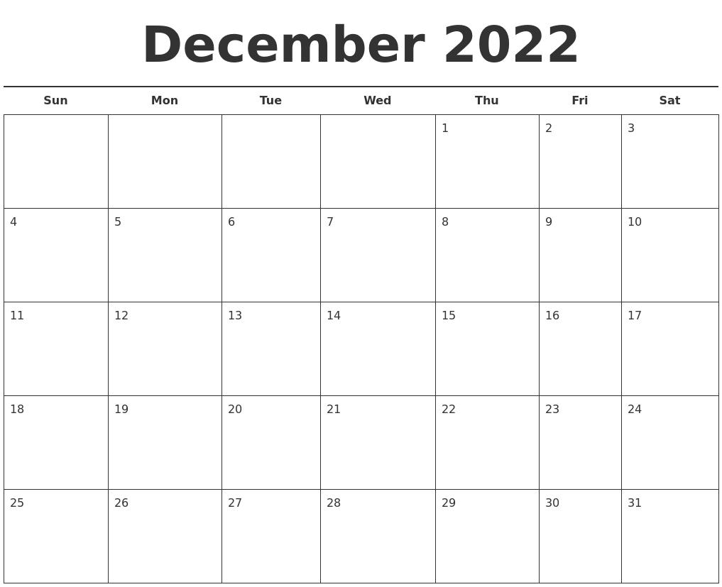 December 2022 Free Calendar Template