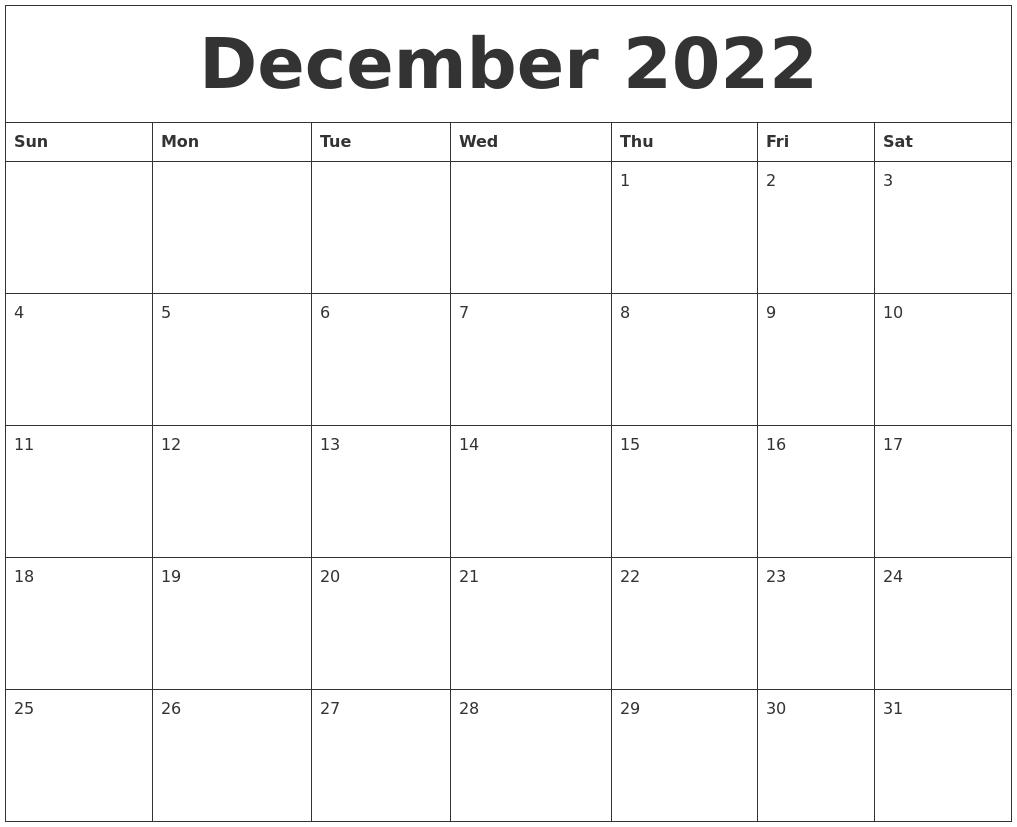 December 2022 Free Printable Weekly Calendar