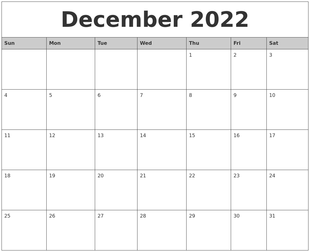December 2022 Monthly Calendar Printable