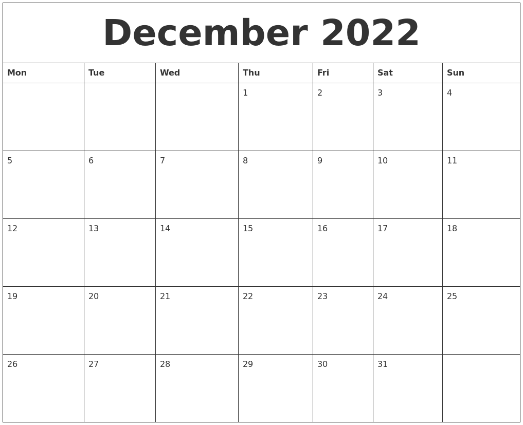 December 2022 Printable Calendars Free PDF's