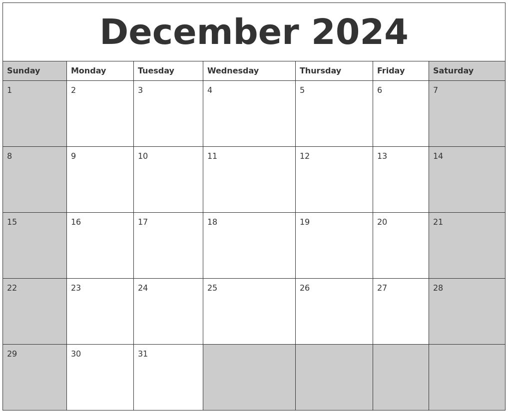 december 2024 calanders