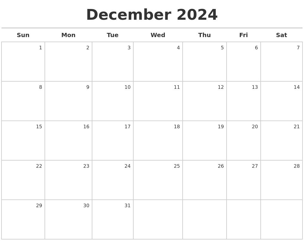 December 2024 Calendar Maker