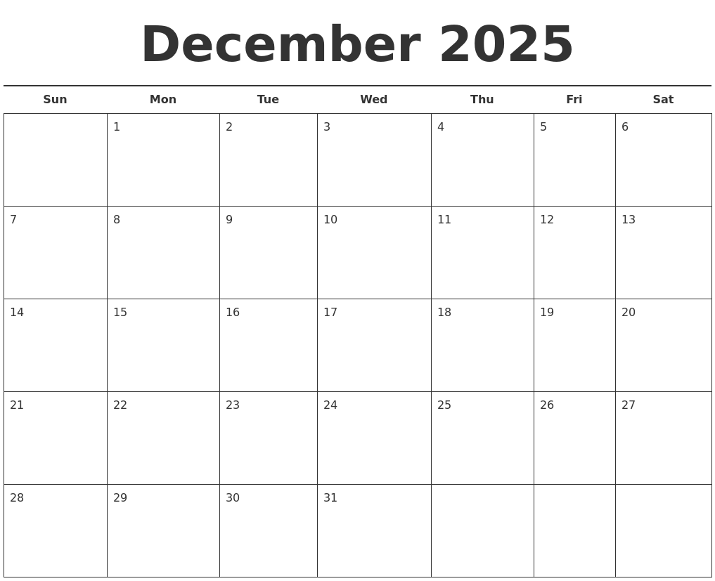 December 2025 Free Calendar Template