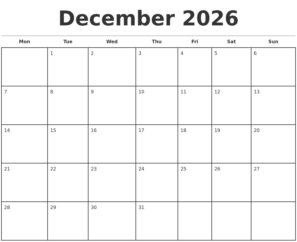 December 2026 Monthly Calendar Template