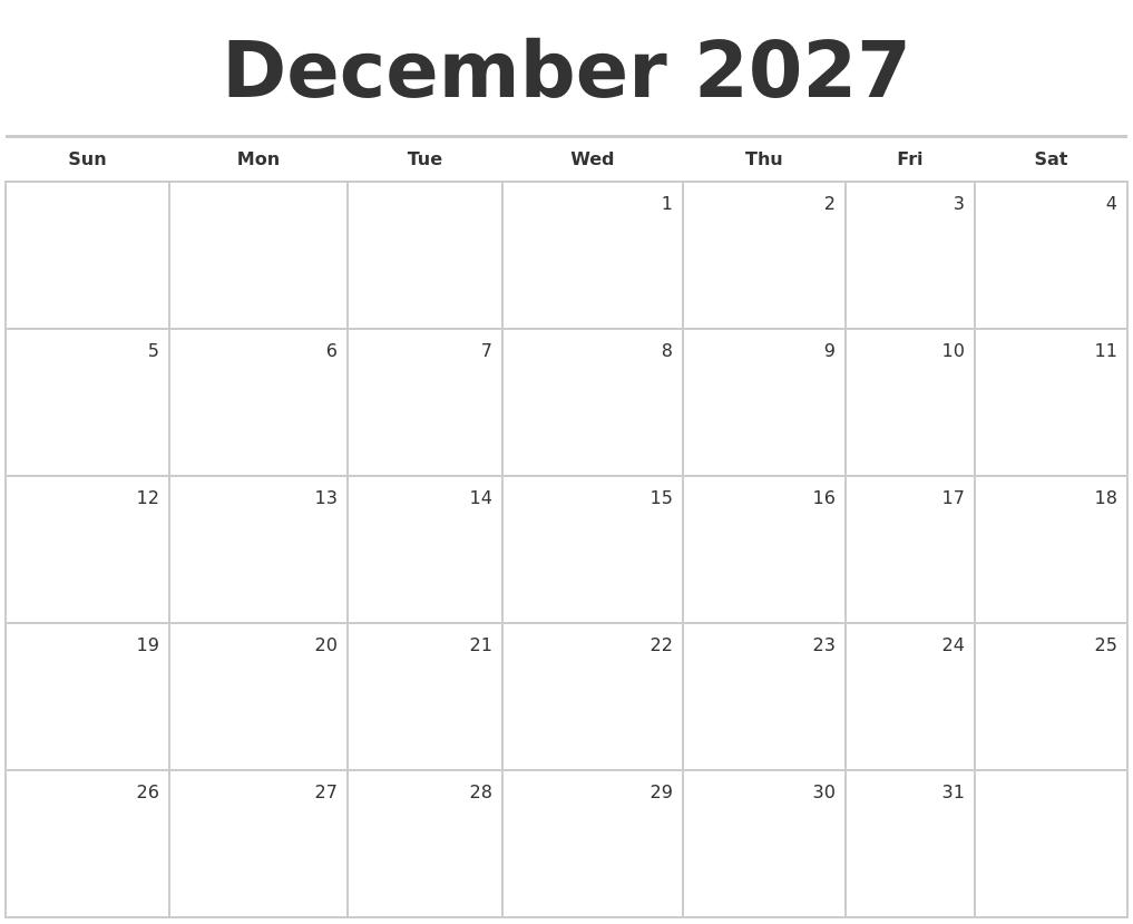 Blank Monthly Calendar December : December blank monthly calendar