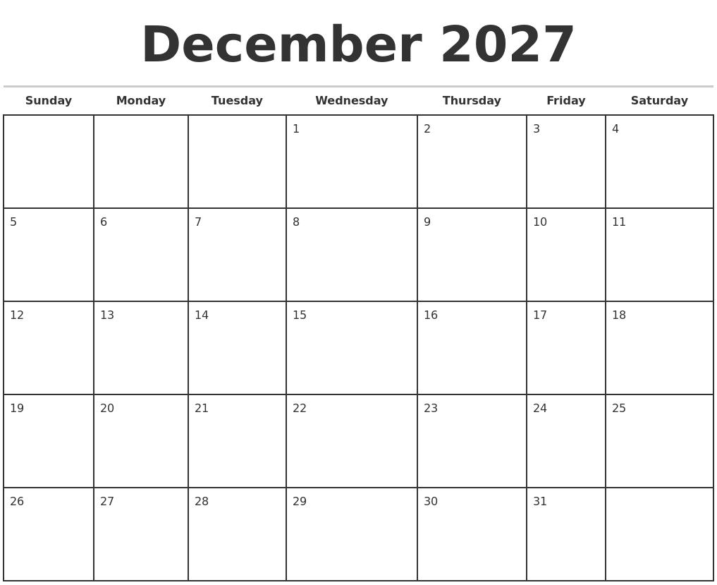 December 2027 Monthly Calendar Template