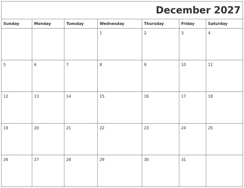 December 2027 Printable Calender