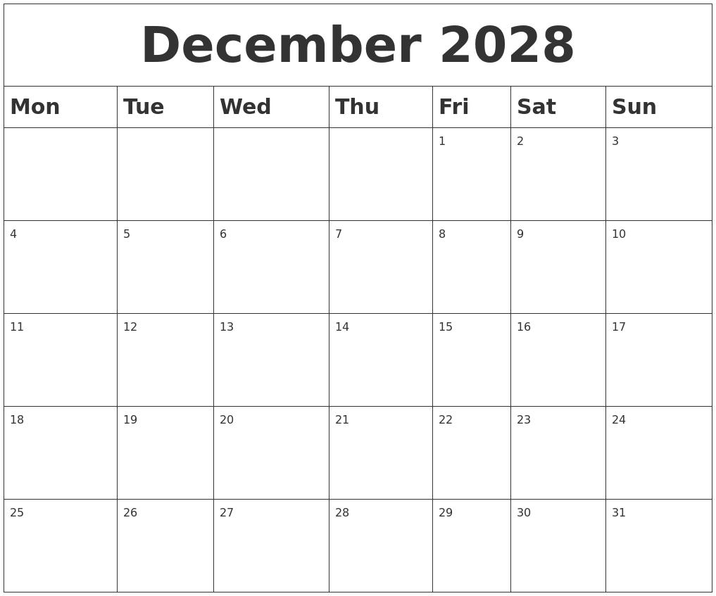 Blank Calendar December Pdf : December blank calendar