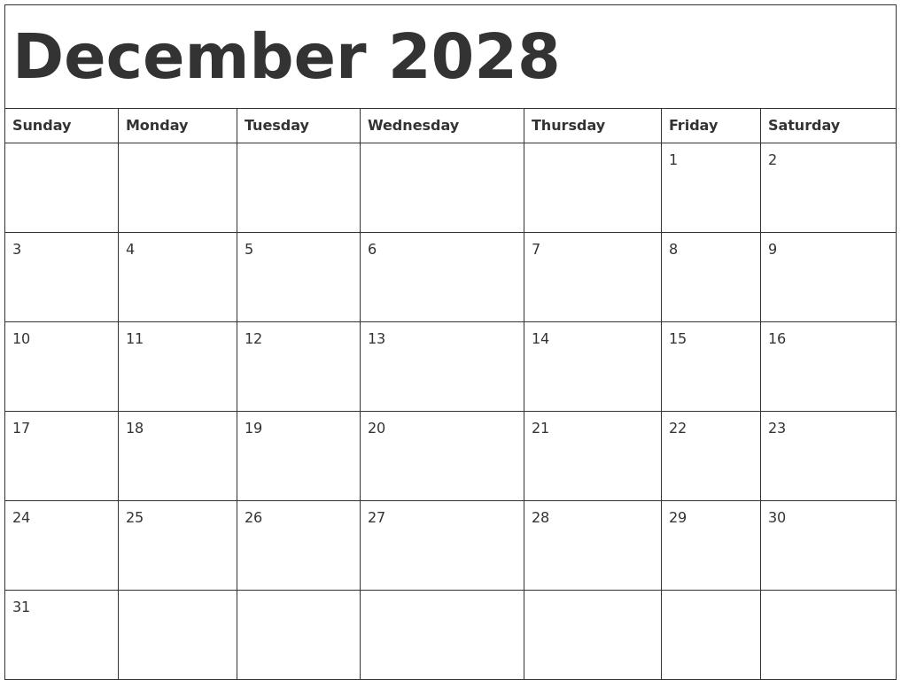 December 2028 Calendar Template