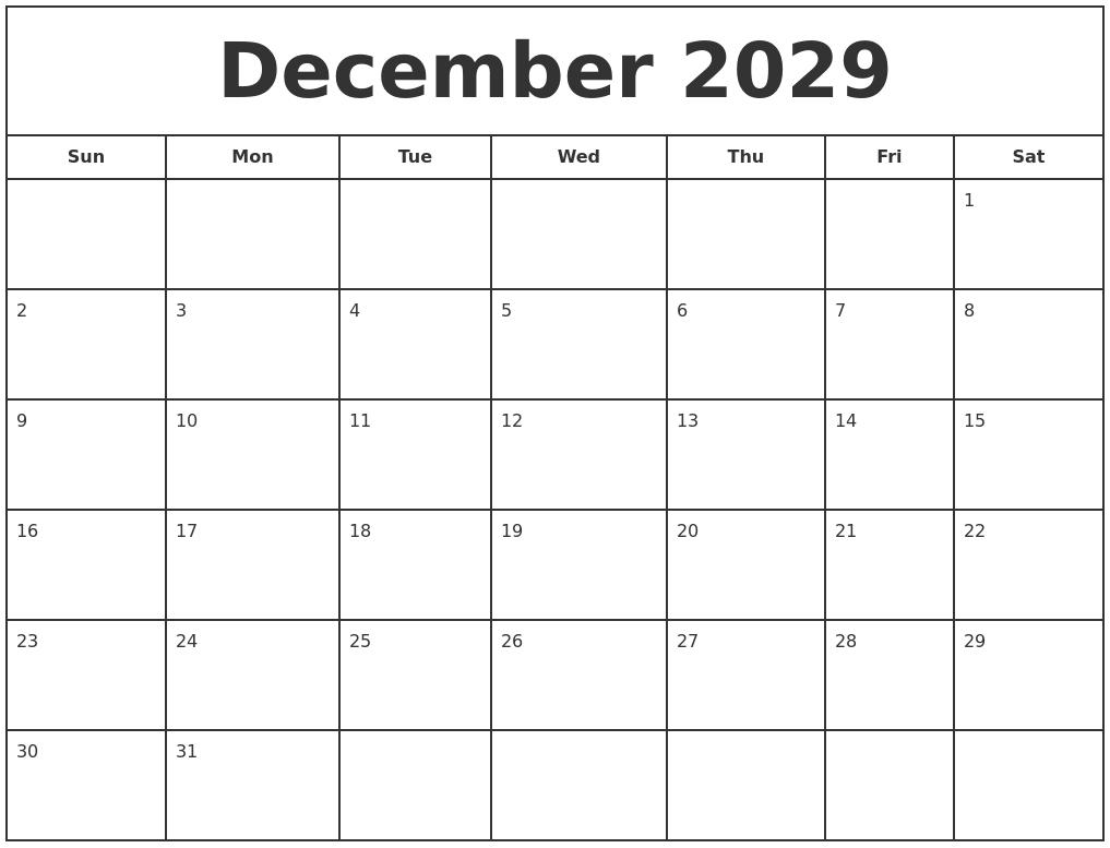 August 2029 Blank Calendar Template