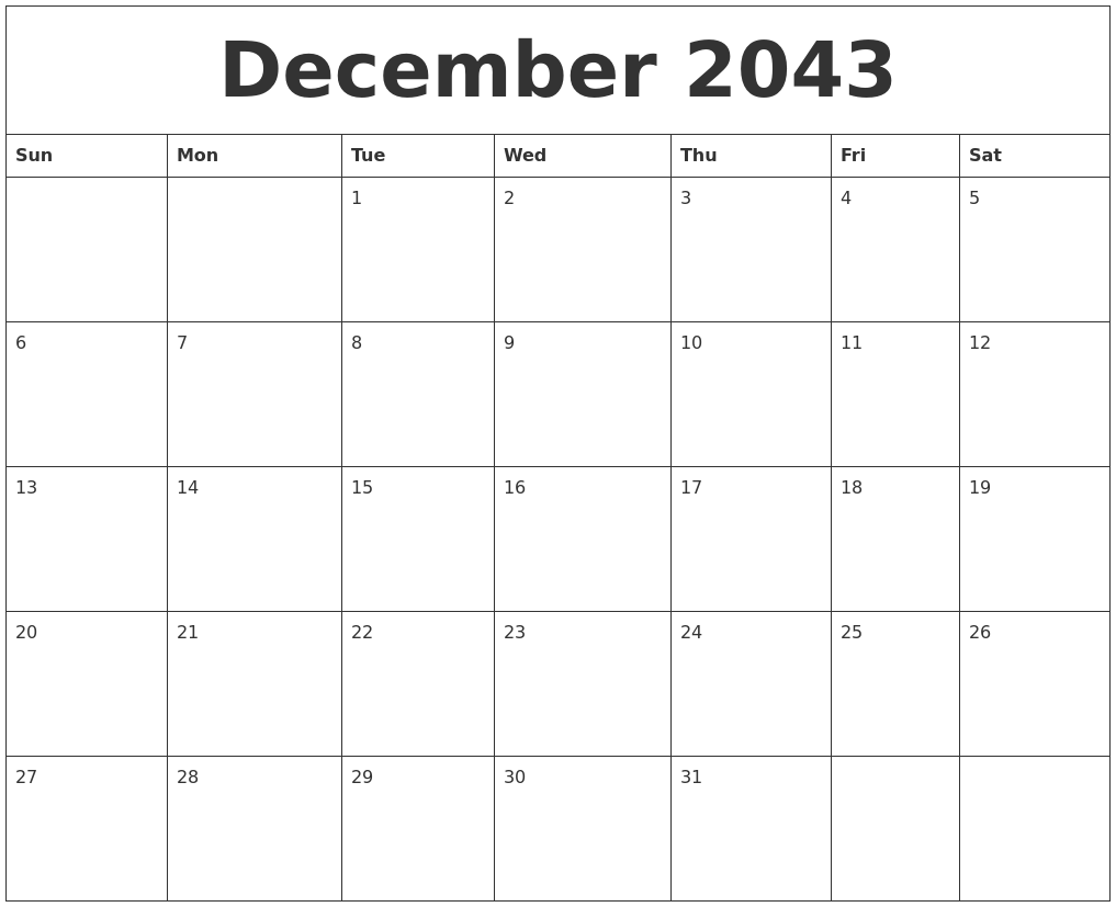 graphic regarding December Printable Calendar Pdf titled December 2043 Printable Calendar Pdf