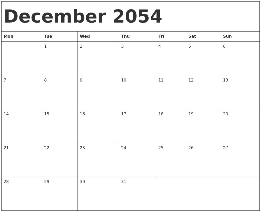 December 2054 Calendar Template