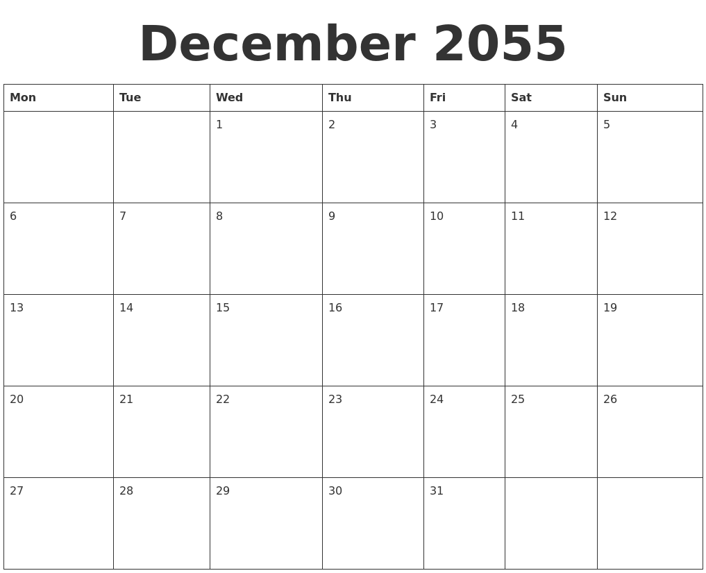 December 2055 Blank Calendar Template