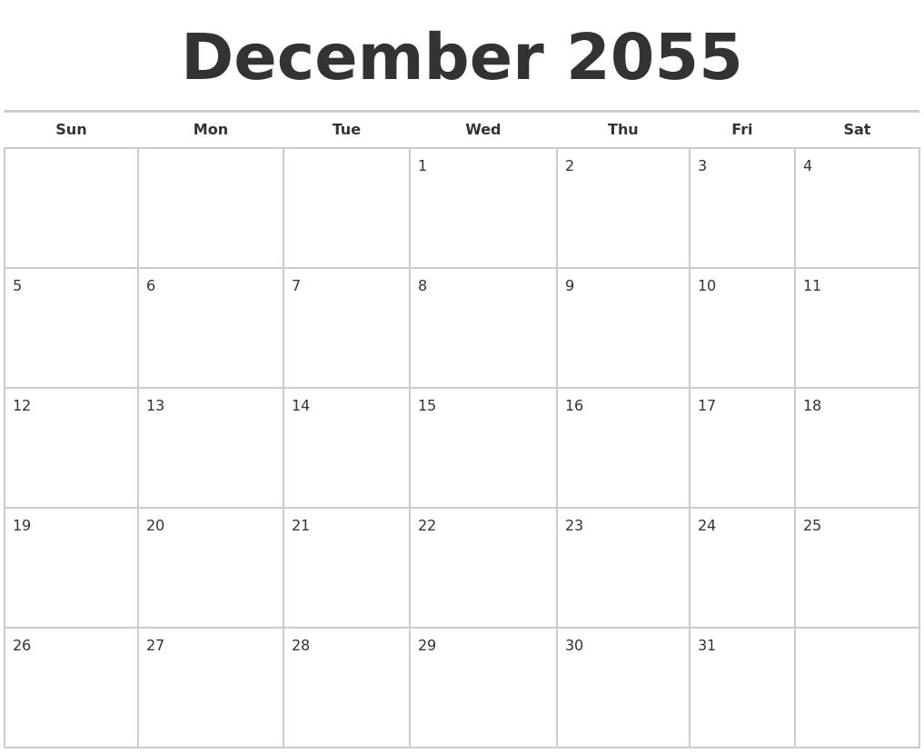 October 2055 Print A Calendar