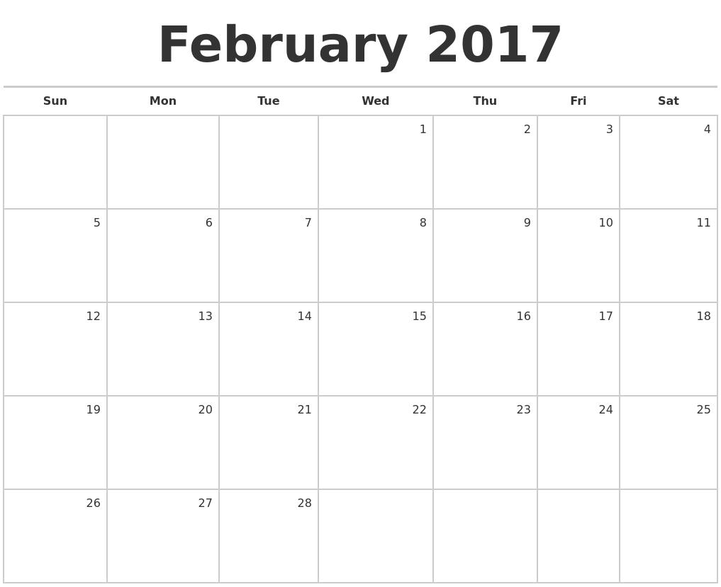 month calendars 2017