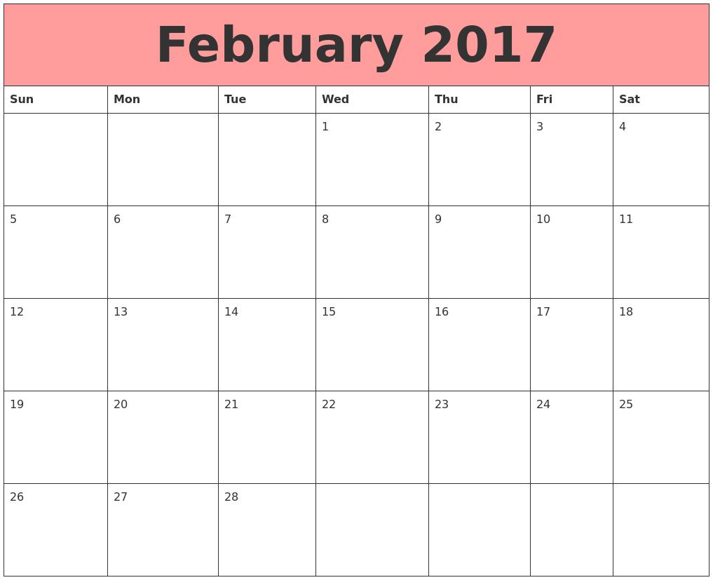 February 2017 Calendars That Work