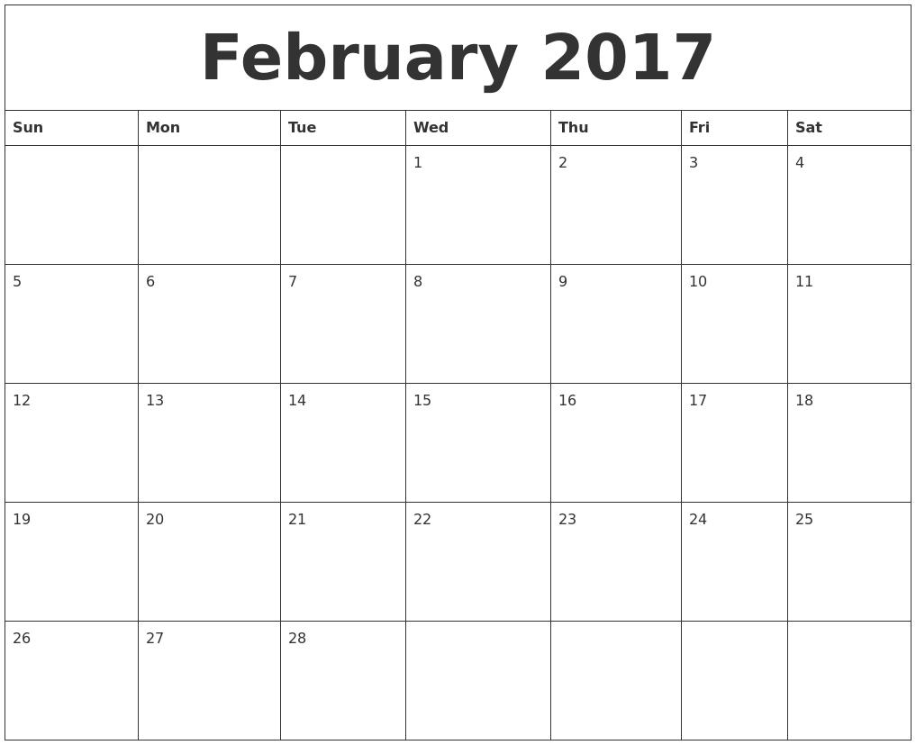february 2017 editable calendar template