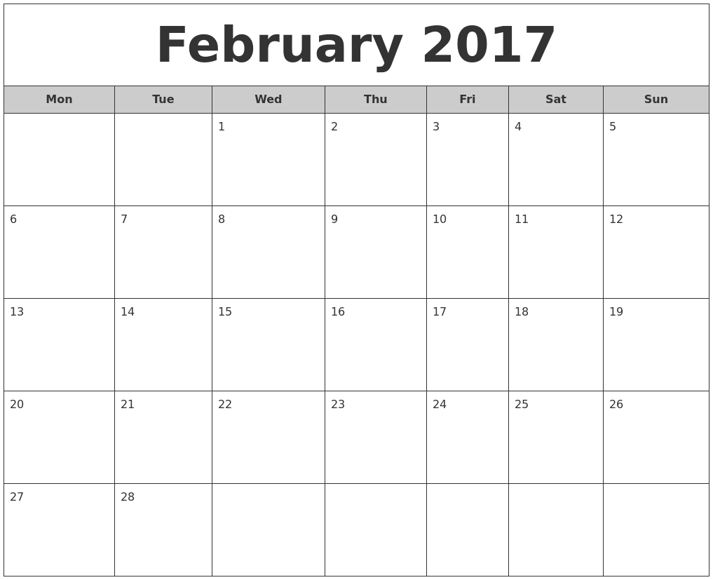 February 2017 Free Monthly Calendar PDF's
