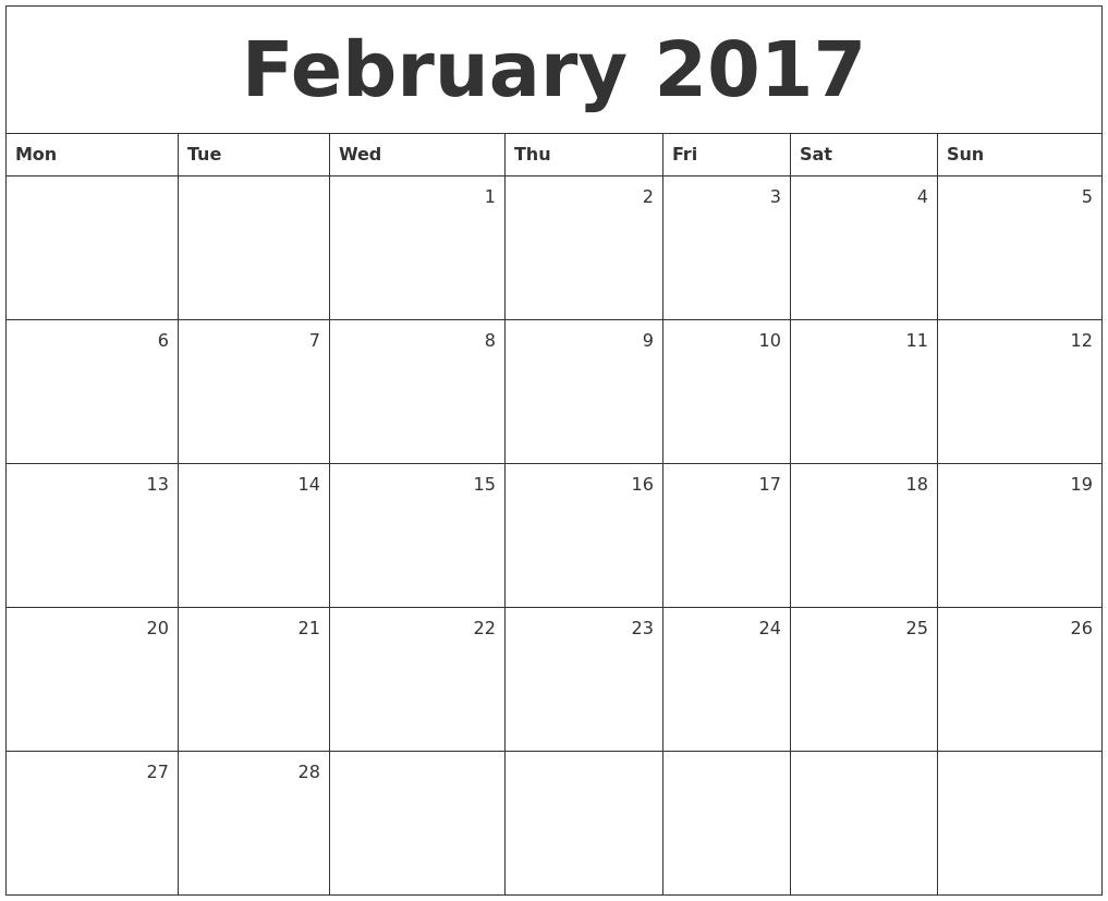 Monthly Calendar Monday Start : February monthly calendar