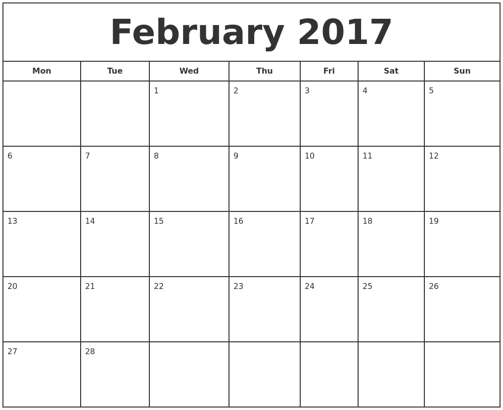 February 2017 Print Free Calendar PDF's