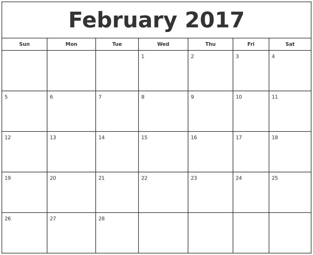 January 2017 Printable Monthly
