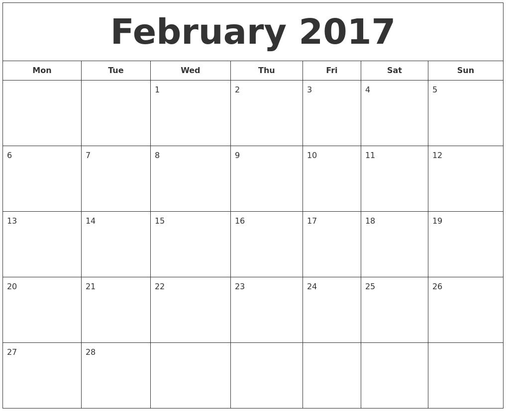 February 2017 Printable Calendar PDF's