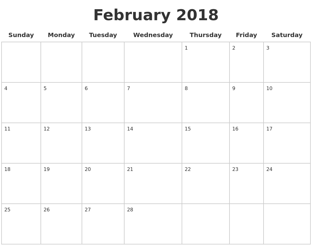 february 2018 blank calendar pages