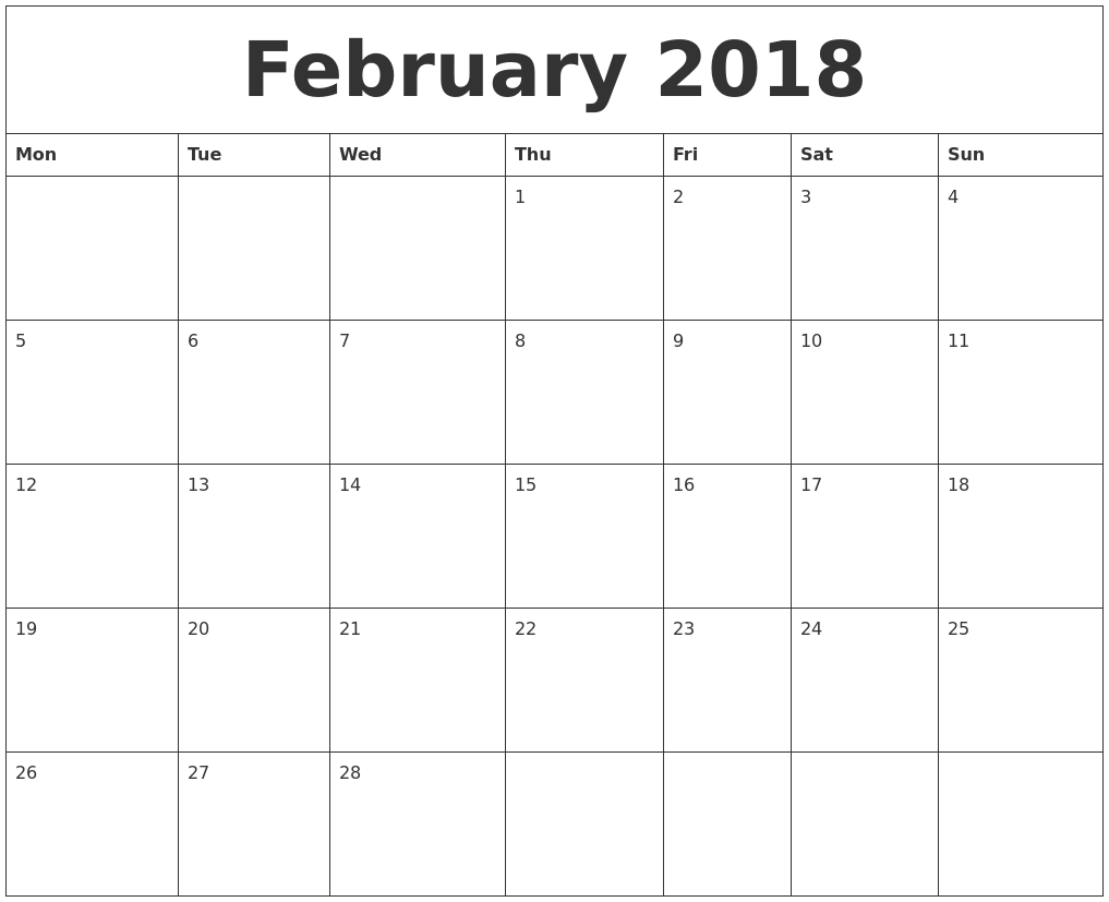 February 2018 Blank Monthly Calendar Template