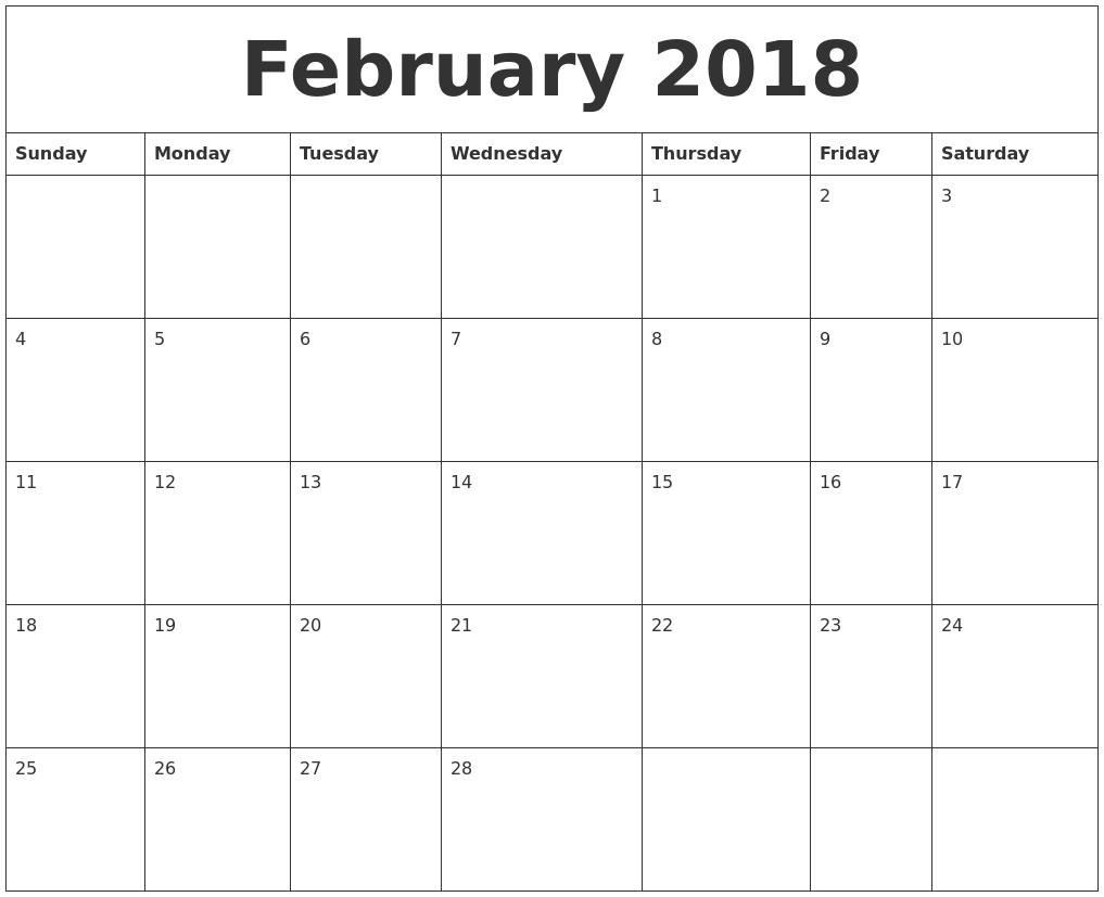 2018 Calendar Month