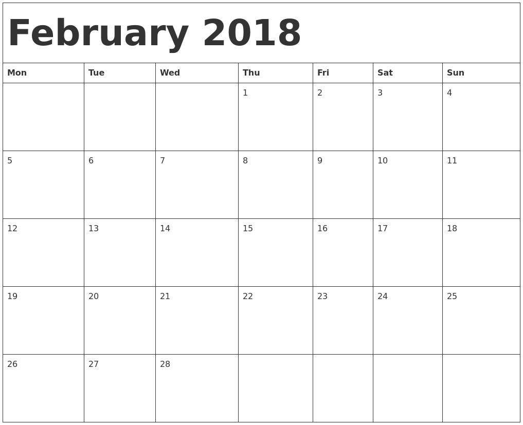 February 2018 Calendar Doc | | 2018 january calendar