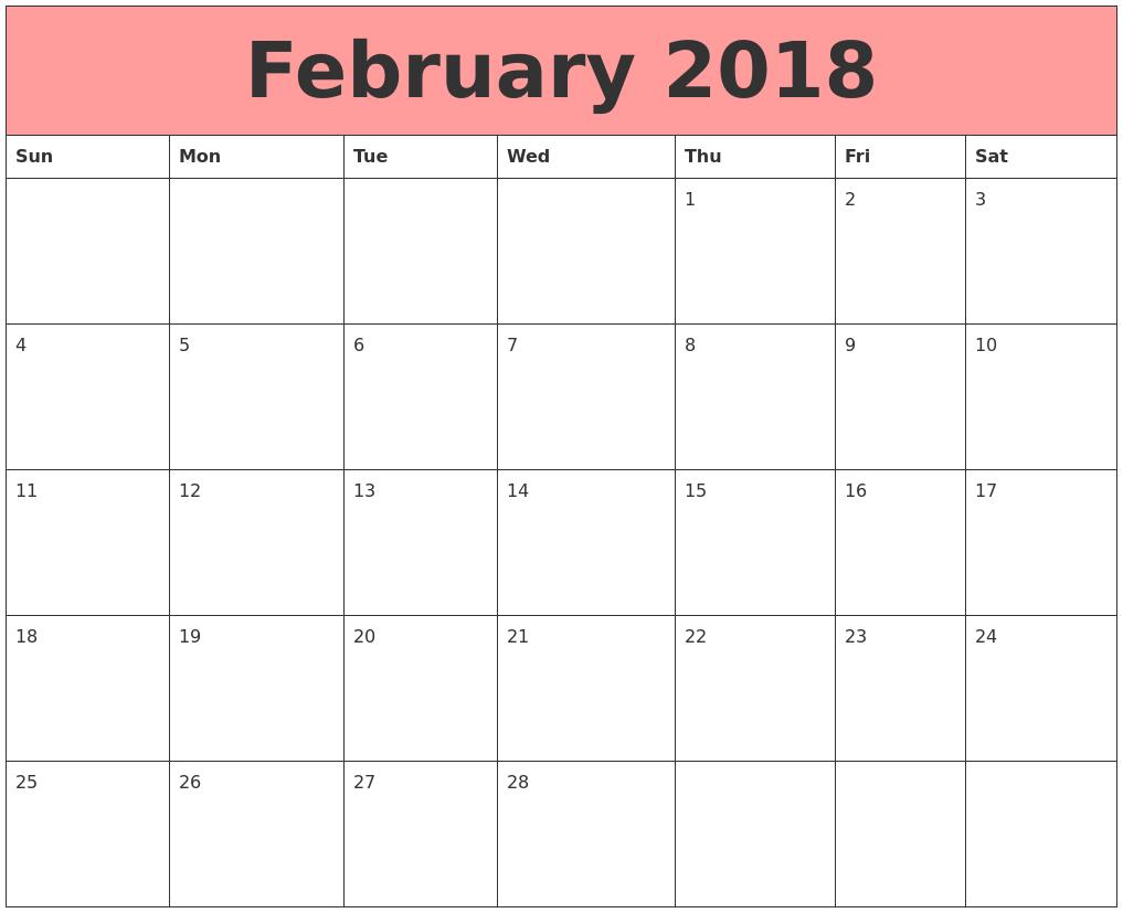 february 2018 calendars that work