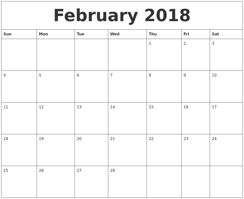 February 2018 Month Calendar Template