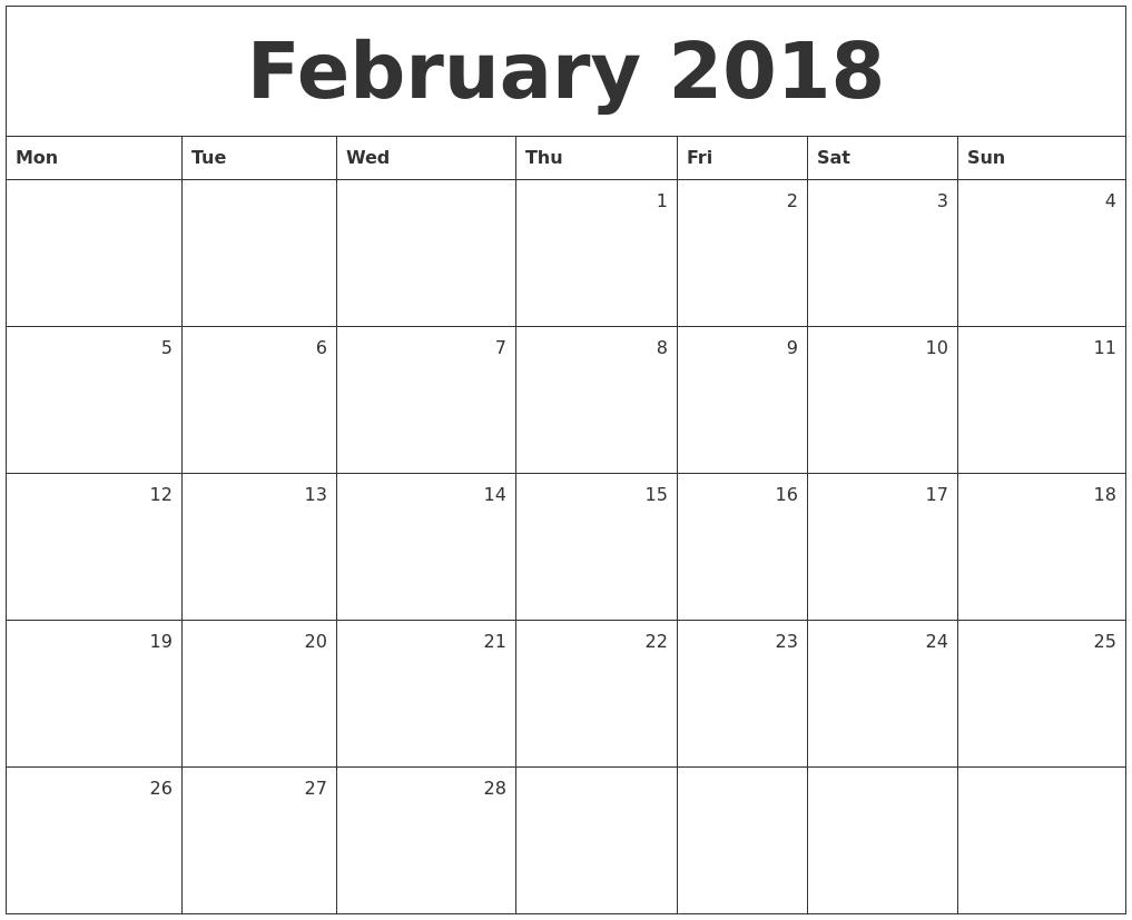 Calendar Monthly February : February monthly calendar