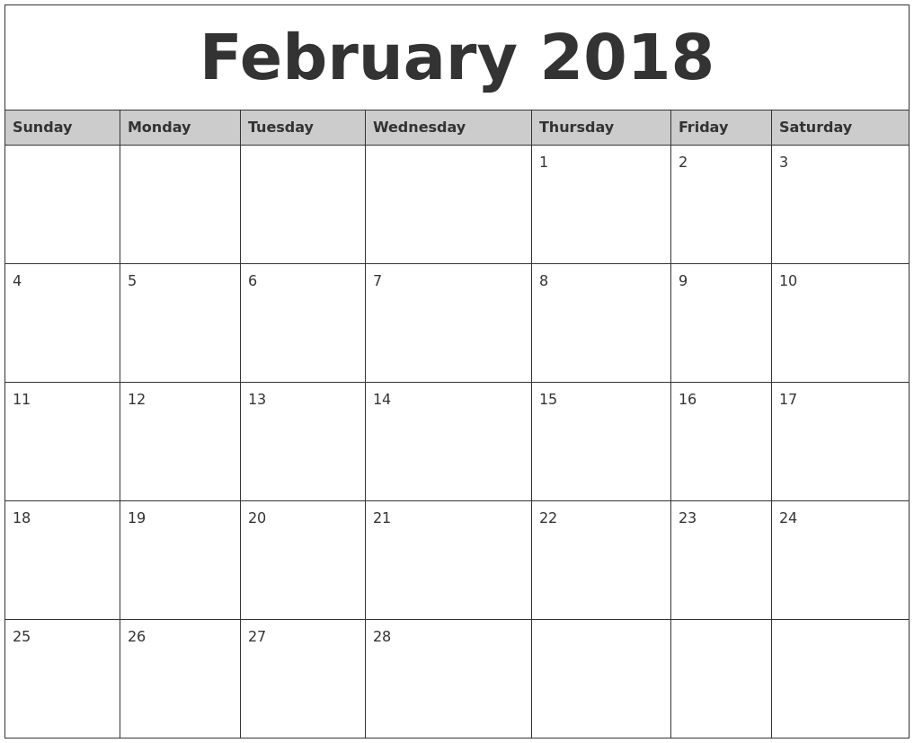 Calendar Monthly 2018 Printable : February monthly calendar printable