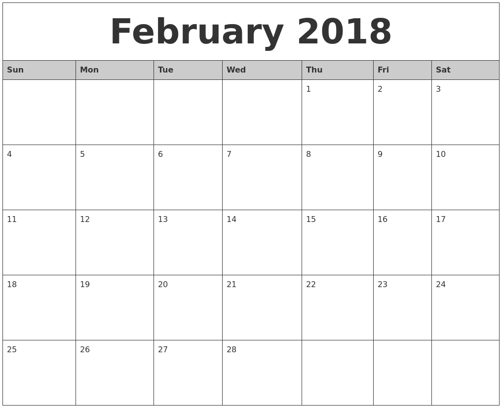 February 2018 Monthly Calendar Printable