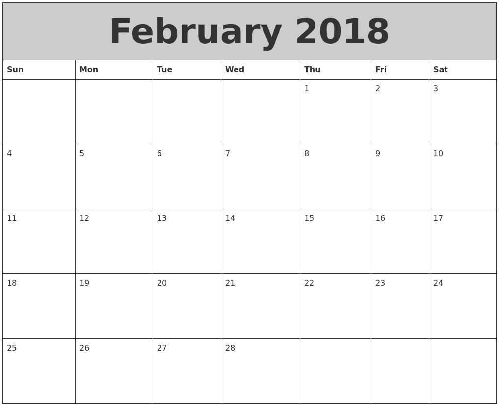 february 2018 my calendar