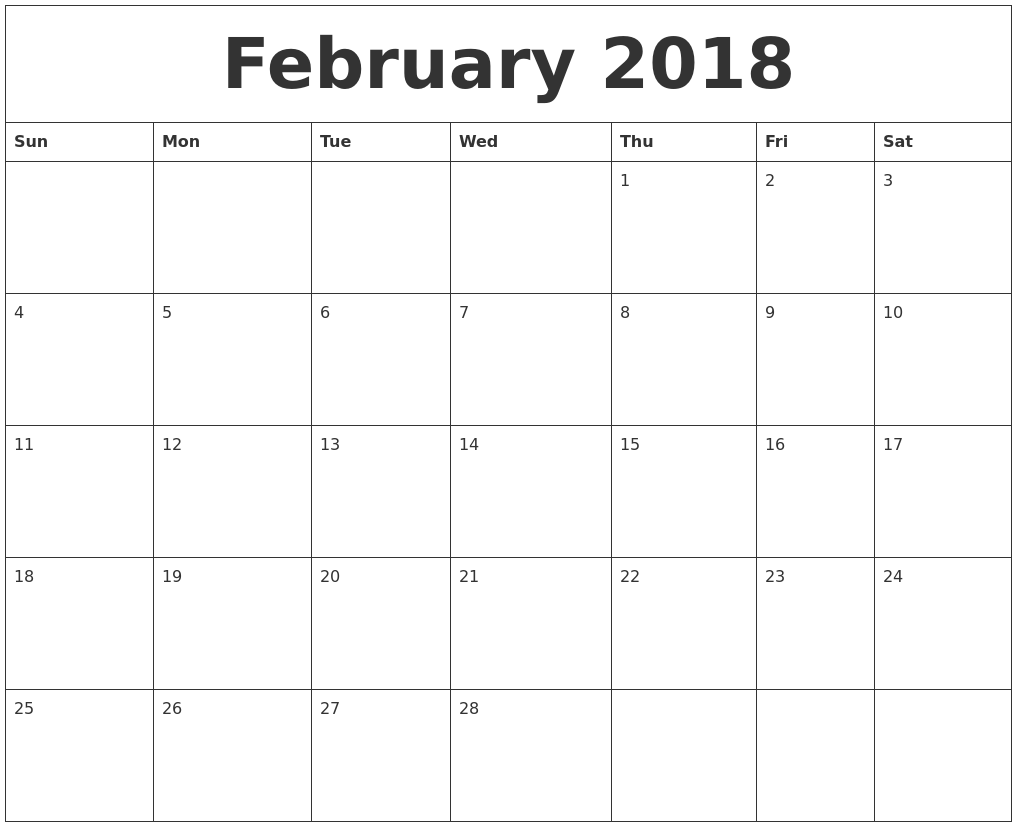 February 2018 Print Out Calendar