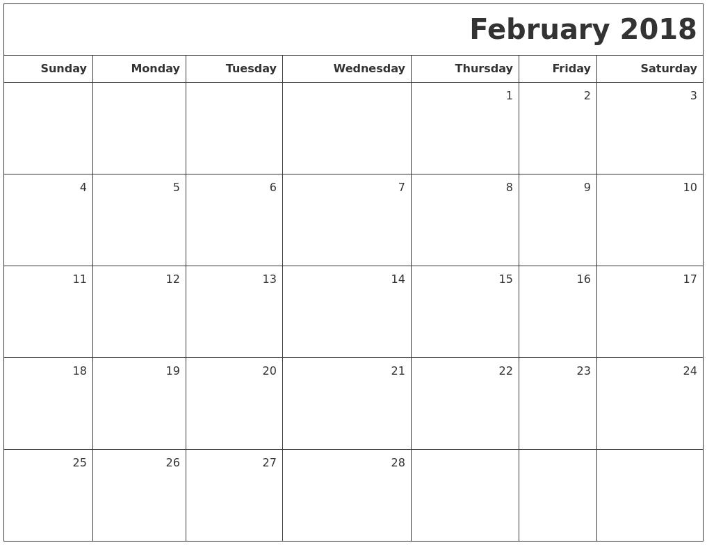 february calendar 2018