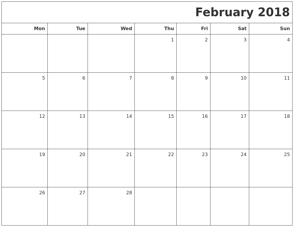 2018 Printable Blank Calendar