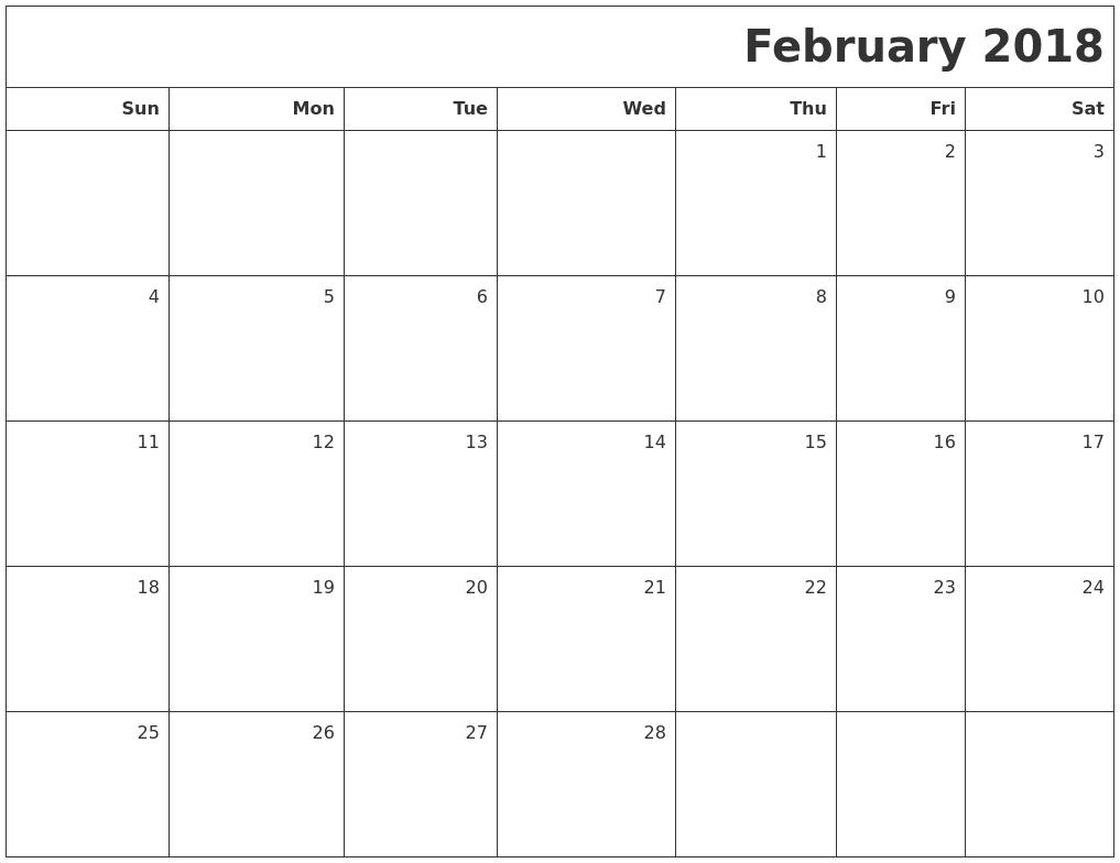 monthly blank calendar 2018