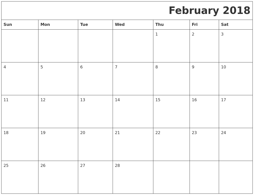 february 2018 word calendar - Okl.mindsprout.co